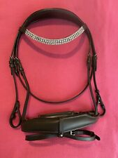 Stunning Brown Crystal Anatomical Comfort Padded Bridle + Reins Full Size