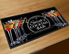 Personalised bar runner with any name cocktail glasses mat Bars Clubs