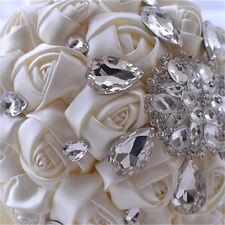 NEW Handmade White Crystal Bridal Flower Brooch Wedding Bouquet Silk Bridesmaid
