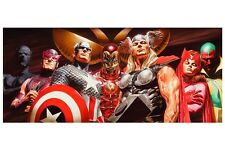 AVENGERS BIG EIGHT PRINT Alex Ross art Wasp Thor Panther Vision Scarlet Witch