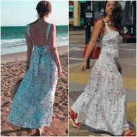 NWT ZARA Womens XS 100% Cotton Poplin Printed Bow Back Tie Sleeveless Maxi Dress