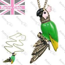 Big Kitsch Retro Parrot Collar Largo Colgante Vintage Latón Cristal Verde Esmalte
