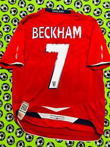 RARE Umbro England Away Soccer Football Jersey 2008 David Beckham 100th Game Cap