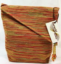SURUCHI Designer Cross Body Beaded Purse Tote Orange/Red Horizontal Stripe NWT