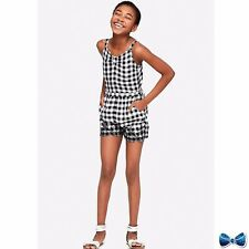 Justice Girls Size 14 Gingham Embroidered Romper New With Tags