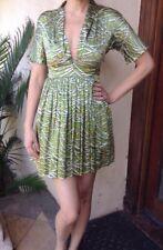 6a1f91ca522aaf $230 Mara Hoffman Vintage Green Print Silk Collared Dress Sz XS ~ Classic  Chic!