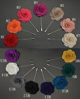 Elegant Lapel Flower Camellia Boutonniere Stick Brooch Pin Men's Accessories