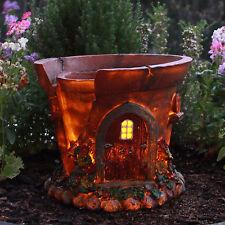 SOLAR POT PLANT  FAIRY HOUSE OUTDOOR GARDEN DECOR BRAND NEW IN BOX