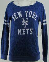 New York Met's MLB Touch Women's Blue Crew-Neck Long Sleeve Shirt