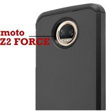 For Motorola Moto Z2 Force - Hybrid Armor Impact Phone Case Black Non-Slip Cover