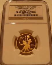 China 1990 Gold 100 Yuan NGC PF-69UC Barcelona Olympics - Basketball