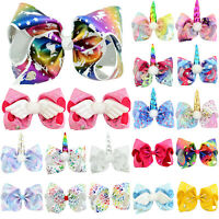 8 Inch Kids Girl Baby JOJO Siwa Unicorn Hair Clip Hairpins Bow Alligator Bowknot