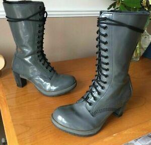 Dr Martens Dee grey patent leather mid calf boots UK 8 EU 42