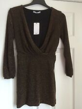 "BNWT MNG @ MANGO BROWN SPARKLE MINI LURIX DRESS, TUNIC  SIZE XS 34"" CHEST PARTY"