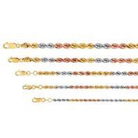 """14k Tricolor Gold Rope Chain Twist Link Necklace 2.2mm-5mm Men Women Sz 16""""-26"""""""