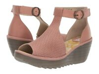 Fly London Women's Yall Peep Toe Wedge - Rose Cupido/Mousse