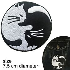 Yin Yang Cat Iron on patch - cats black white feline transfer iron-on patches