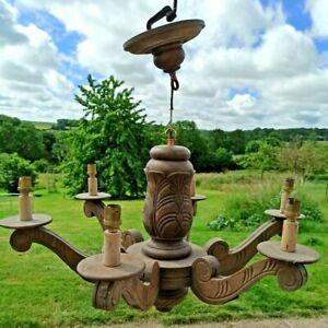 "*28"" Antique French Chandelier Black Forest Wood Hand Carved 6 Arm Lights"