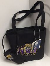 ladies handbag Sandol  LSU Tigers black purple removable holder new H37
