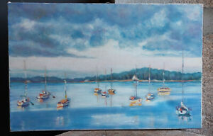 TABLEAU Peinture huile toile Marine port breton bretagne mer morbihan arradon