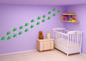 24 X Dinosaur Footprints Wall Stickers Children Nursery Kids Room Decals UK