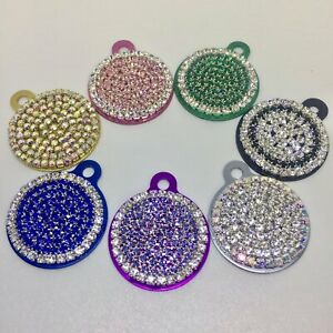 Bling Crystal Rhinestone Round Personalized Dog Cat Pet Collar ID Tag Charm USA