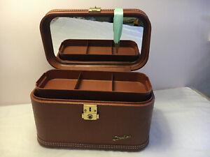 Vintage Lady Baltimore Luggage Co Train Case Tray Key Mirror Brown Beautiful!!