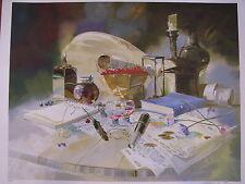 "Israeli Art - Israel - M. GORBAN - Cherries and Wine - Serigraph -33.5"" x 26.5"""