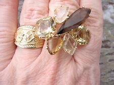 14KT Yellow Gold Smokey & Lime Quartz Citrine & Rutilated Quartz Gemstone Ring