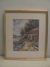Original Water Color by Jacob A. Lawrence Thatched Cottage Signature on Back