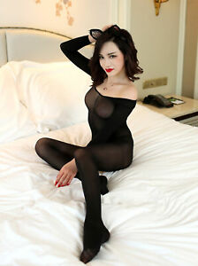 Sexy Elegant Moments Open Crotch Black Long Sleeve Opaque Bodystocking Size 8-12