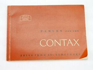 Zeiss Ikon Tables for the Contax manual booklet, nice! - RA