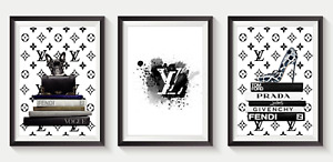 Set of 3 Fashion Vogue Designer Wall Art Bedroom Print Home Posters Living Room