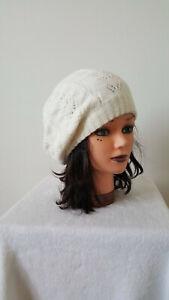 Bonnet femme fille en laine tricoté main chapeau vêtements d'hiver