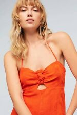 New ANTHROPOLOGIE ELEVENSES Red Tropicale One Piece Halter Jumpsuit XS 0 overall