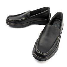 Strol Robinson Black Leather Slip-On Loafers Moc Toe Men's Size 8M