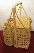 Vintage Picnic Basket With Double Wine Holder Tote Rattan Wicker