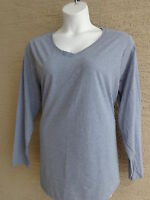 New Just  My Size L/S V Neck Shirtail Bottom Cotton Blend  Tee Top  3X Heth Navy