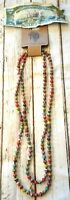African KIBUYE NECKLACE Handmade Multicolored Beads Layer Statement Jewelry NWT