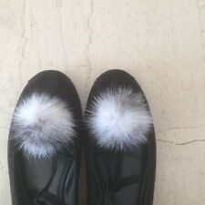 Shoe pompom clips.  A pair of mink fur clips suitable to decorate your shoes.