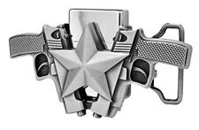 Silver Gun Star Lighter Belt Buckle