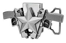 Silver Gun Star Lighter Belt Buckle