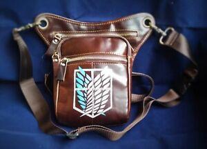 Leather leg holster bag, Attack on Titan. unisex bag purse