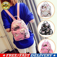 Women's Leather Backpacks with Flower Pattern Mini Rucksack Handbags School Bag