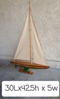 Antique Ship Model -Gorgeous Vintage Wood Pond Yacht Model sailboat 42,5x30x5