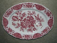 red transferware Ridgway Staffordshire Windsor Serving Platter floral toile 11""