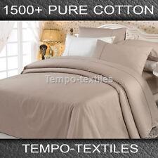 LUXURY QB 1500TC Egyptian Cotton 40cm Fitted Flat Pillowcase Sheet Set Mocha