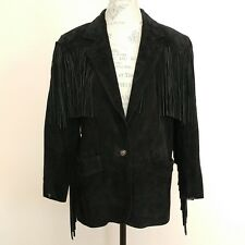 VTG Winlit Black Suede Leather Medium Jacket Fringes Western Cowgirl Biker