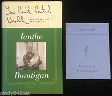 Richard Brautigan Memoir Signed Book You Cant Catch Death + Visit From Jake
