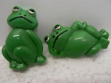 2 X Green Frog Fridge Magnets, Made In Hong Kong